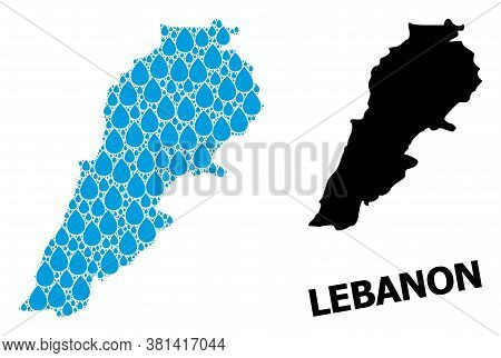 Vector Mosaic And Solid Map Of Lebanon. Map Of Lebanon Vector Mosaic For Clean Water Ads. Map Of Leb