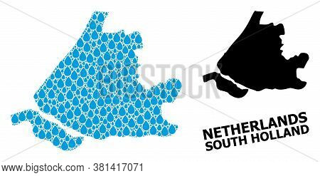 Vector Mosaic And Solid Map Of South Holland. Map Of South Holland Vector Mosaic For Pure Water Ads.