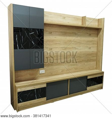 Modern Living Room Furniture For Tv Set. Contemporary Style Tv Sideboard Or Home Theater Isolated On