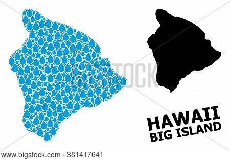 Vector Mosaic And Solid Map Of Hawaii Big Island. Map Of Hawaii Big Island Vector Mosaic For Drinkin