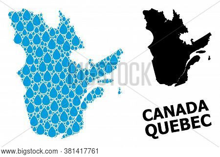 Vector Mosaic And Solid Map Of Quebec Province. Map Of Quebec Province Vector Mosaic For Pure Water