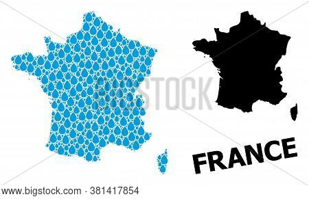 Vector Mosaic And Solid Map Of France. Map Of France Vector Mosaic For Clean Water Ads. Map Of Franc
