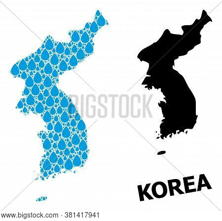 Vector Mosaic And Solid Map Of Korea. Map Of Korea Vector Mosaic For Clean Water Ads. Map Of Korea I