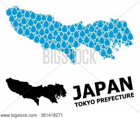 Vector Mosaic And Solid Map Of Tokyo Prefecture. Map Of Tokyo Prefecture Vector Mosaic For Drinking