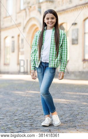 Comfy And Practical. Happy Girl In Casual Style Outdoors. Casual Wear. Fashion Summer Trends. Trendy