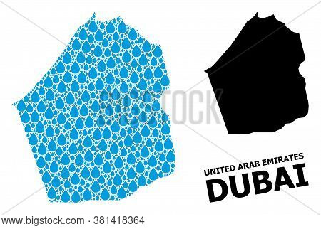 Vector Mosaic And Solid Map Of Dubai Emirate. Map Of Dubai Emirate Vector Mosaic For Pure Water Ads.