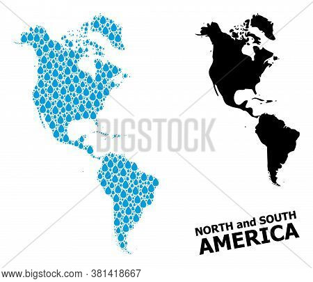 Vector Mosaic And Solid Map Of South And North America. Map Of South And North America Vector Mosaic