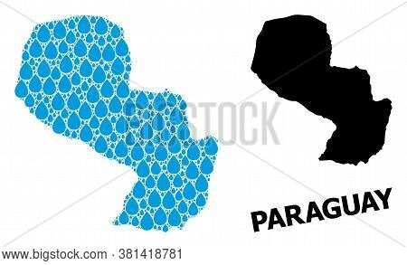 Vector Mosaic And Solid Map Of Paraguay. Map Of Paraguay Vector Mosaic For Clean Water Ads. Map Of P
