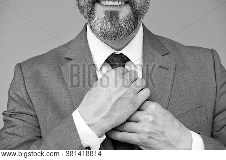 Attention To Details. Male Hands Tie Necktie Grey Background. Formal Tie Collection. Tying Neck Tie.