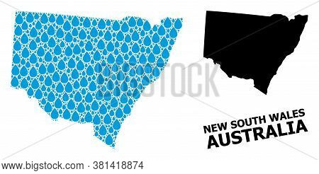 Vector Mosaic And Solid Map Of New South Wales. Map Of New South Wales Vector Mosaic For Clean Water
