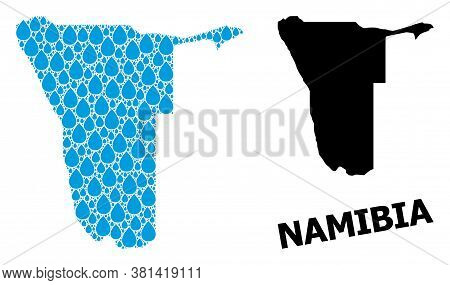 Vector Mosaic And Solid Map Of Namibia. Map Of Namibia Vector Mosaic For Clean Water Ads. Map Of Nam