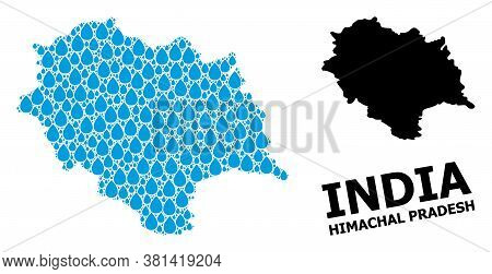 Vector Mosaic And Solid Map Of Himachal Pradesh State. Map Of Himachal Pradesh State Vector Mosaic F