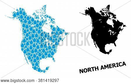 Vector Mosaic And Solid Map Of North America. Map Of North America Vector Mosaic For Drinking Water