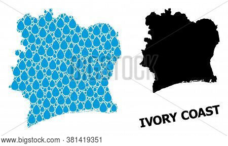 Vector Mosaic And Solid Map Of Ivory Coast. Map Of Ivory Coast Vector Mosaic For Pure Water Ads. Map