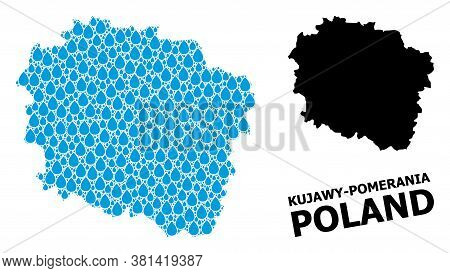 Vector Mosaic And Solid Map Of Kujawy-pomerania Province. Map Of Kujawy-pomerania Province Vector Mo