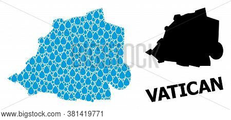 Vector Mosaic And Solid Map Of Vatican. Map Of Vatican Vector Mosaic For Pure Water Ads. Map Of Vati