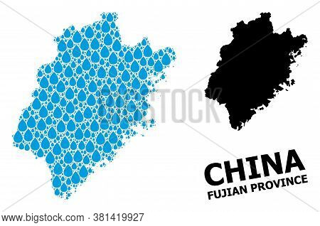 Vector Mosaic And Solid Map Of Fujian Province. Map Of Fujian Province Vector Mosaic For Clean Water