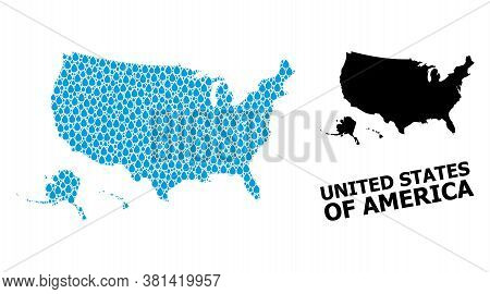 Vector Mosaic And Solid Map Of Usa Territories. Map Of Usa Territories Vector Mosaic For Drinking Wa