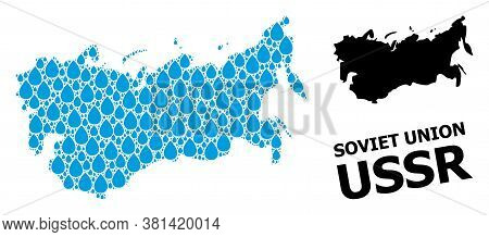 Vector Mosaic And Solid Map Of Ussr. Map Of Ussr Vector Mosaic For Drinking Water Ads. Map Of Ussr I