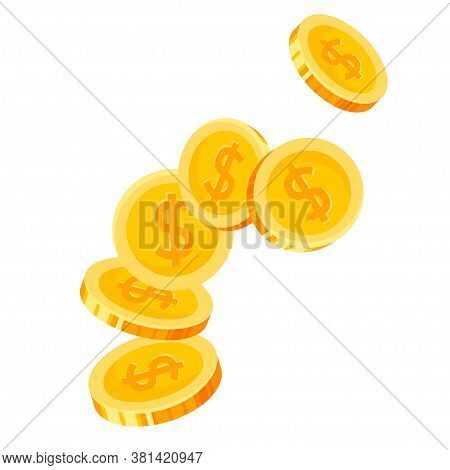One Dollar Coins Fall, Are Flying. Cash, Currency, Money. Financial Gain, Winning, Lottery Prize, Sa