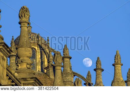 The Moon And The Architecture Of Seville Cathedral
