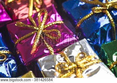Close-up Of Present Boxes With Gifts. Celebration Concept. Holidays Background.