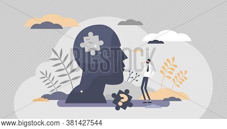 Memory Loss As Brain Amnesia Problem And Thoughts Forget Tiny Persons Concept. Medical Issue Symboli