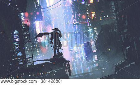 Futuristic Samurai Standing On A Building In Cyberpunk City At Rainy Night, Digital Art Style, Illus