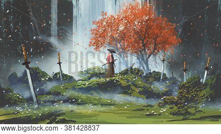 Samurai Standing In Waterfall Garden With Swords On The Ground, Digital Art Style, Illustration Pain