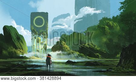 Woman Standing On Creek Looking At The Mystery Rock Floating In Midair, Digital Art Style, Illustrat