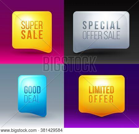 Set Of Modern Colorful Sale Bubbles. Sale Sign Icon Design. Sale Symbol. Speech Bubbles With Sale Ic