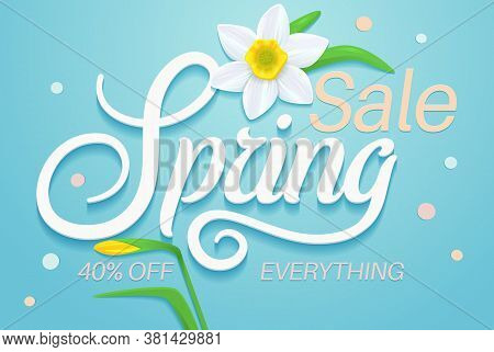 Spring Sale Banner. Sale Poster Template. Sale Design With Colorful Flowers. Sale Background For Spr