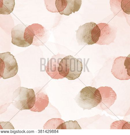 Vector Dots Stains Pink Rosy Ecru Seamless Pattern