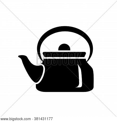 Teapot Steel Vector Icon Simple Black Style. Laconic Simple Design For The Application. Ideal For Ho