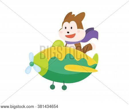 Cute Dog Flying An Airplane With Scarf Fluttering. Funny Pilot Flying On Planes. Cartoon Vector Illu