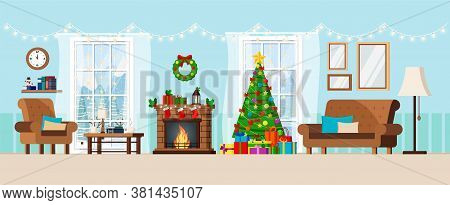 Cozy Christmas Decorated Living Room Interior Scene. Room With Christmas Tree, Fireplace, Table, Sof