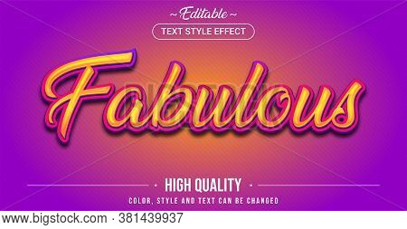 Editable Text Style Effect - Fabulous Theme Style. Graphic Design Element.
