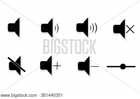 Set Of Sound Signal Signs. Volume Signs On A Mobile Device. Strikethrough Icon, Prohibition To Use T