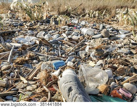Disposable Plastic Dirty Glass Discarded Waste, Marine Pollution, Sea Shore