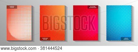 Tech Dot Perforated Halftone Title Page Templates Vector Kit. Business Banner Faded Halftone Pattern