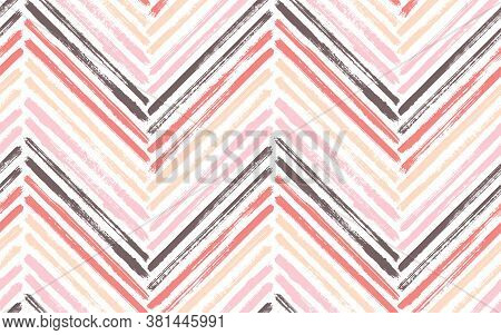 Mexican Chevron Interior Print Vector Seamless Pattern. Ink Brushstrokes Geometric Stripes. Hand Dra