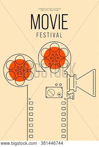 Movie And Film Poster Design Template With Outline Camera And Filmstrip. Design Element Can Be Used