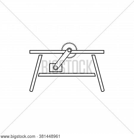 Circular Table Saw Icon. Outline Circular Table Saw Vector Icon Isolated On White Background. Eps 8.