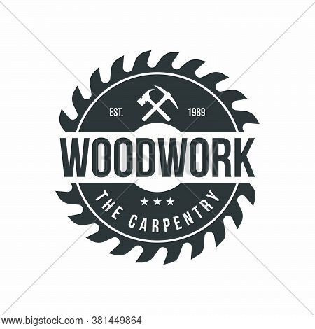 Sawmill Emblem Logo Vector For Carpentry, Woodworkers, Lumberjack, Sawmill Service.isolated On White