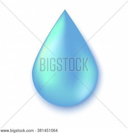Drop Of Water. Blue Raindrop. Liquid Icon. Illustration Of Purity. Vector Icon.
