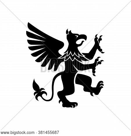 Griffin With Body, Tail, And Hind Legs Of Lion. Head, Wings, Talons Front Feet Of Eagle Isolated Vec