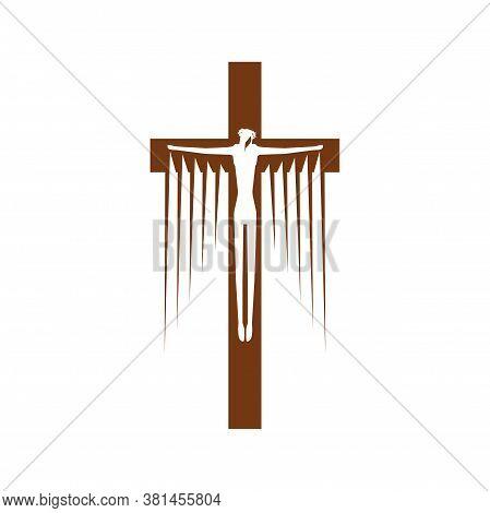 Jesus On Cross Isolated Crucifix. Vector Religion Symbol, Crucifixion Christ, Christian Or Catholic