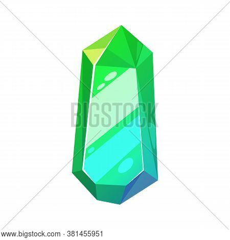 Green Precious Stone Isolate Emerald. Vector Faceted Gemstone, Chrome Diopside Of Emerald-green