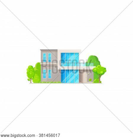 Chalet Country House, Contemporary Building Country Style Architecture With Trees Isolated Icon. Vec