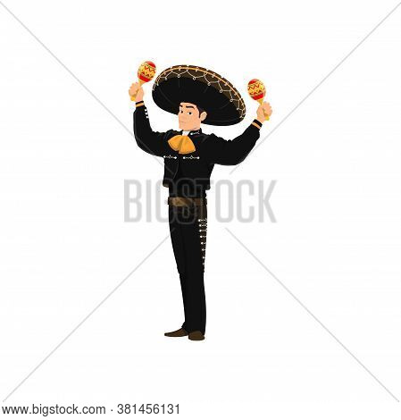 Brazilian Man In National Costume And Sombrero Hat Playing On Maracas Musical Instrument Isolated Ba